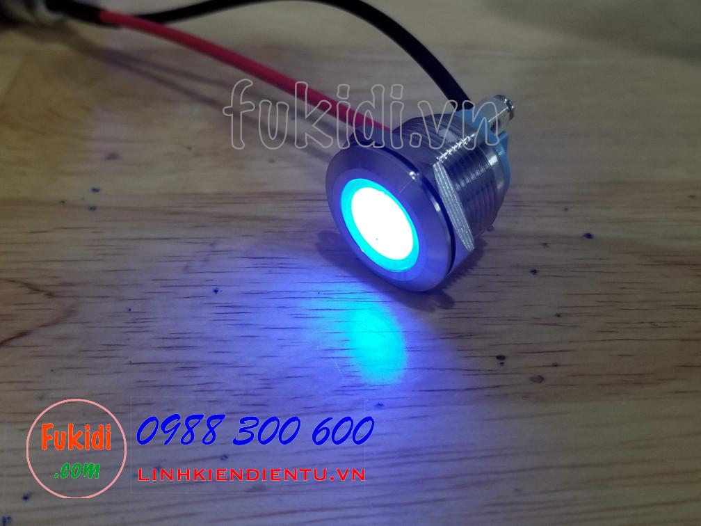 Đèn LED báo nguồn vỏ inox phi 19mm, điện áp 12-24V, màu xanh lục SL1924B