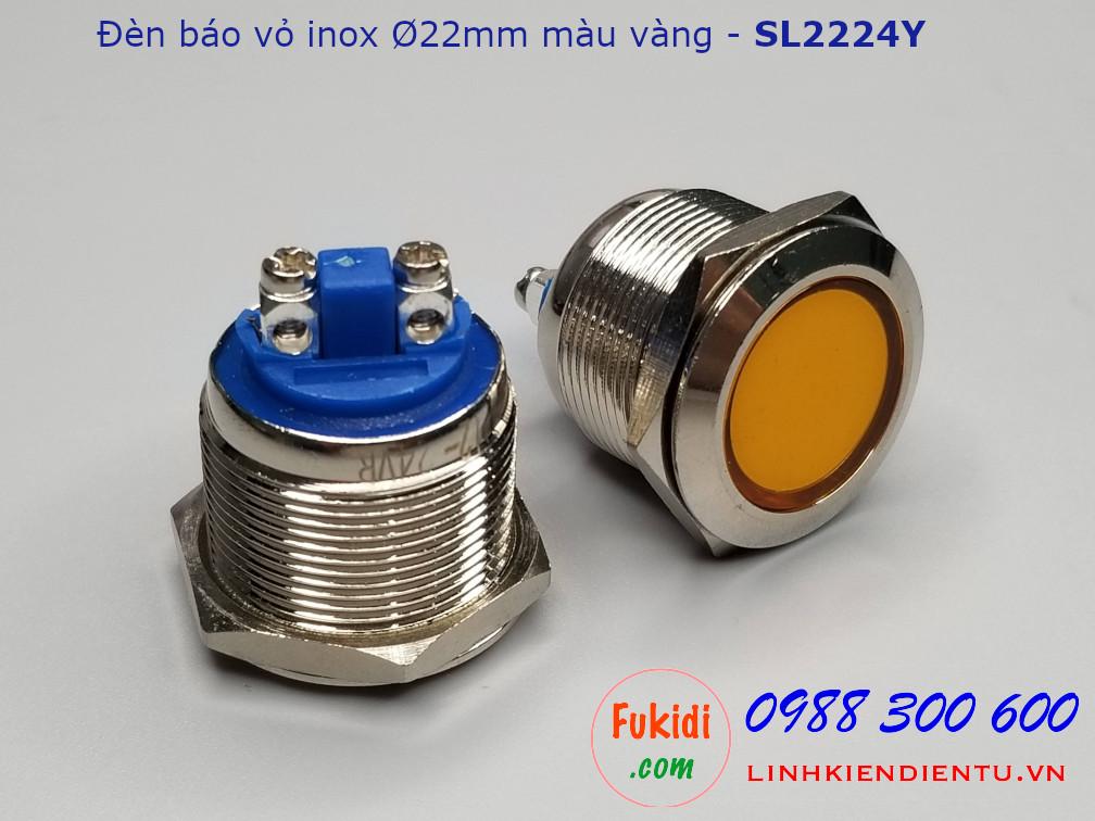 Đèn báo tín hiệu vỏ inox, Ø22mm, 12-24V, màu vàng - SL2224Y