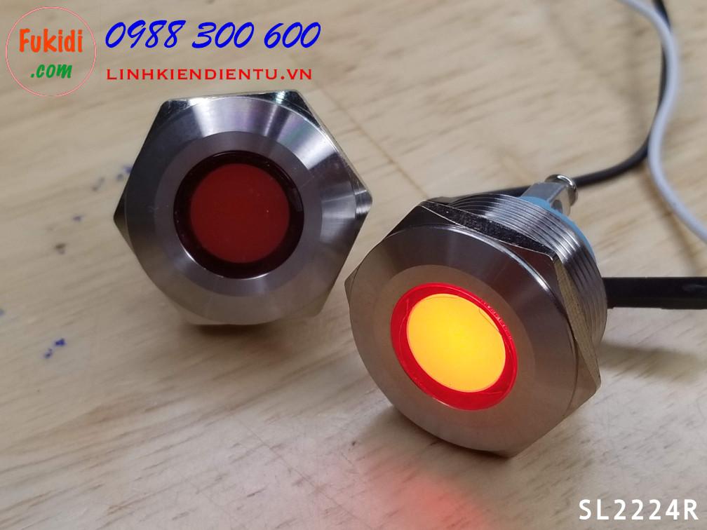 Đèn LED báo nguồn, báo tín hiệu vỏ kim loại, phi 22mm, 24V, màu đỏ SL2224R