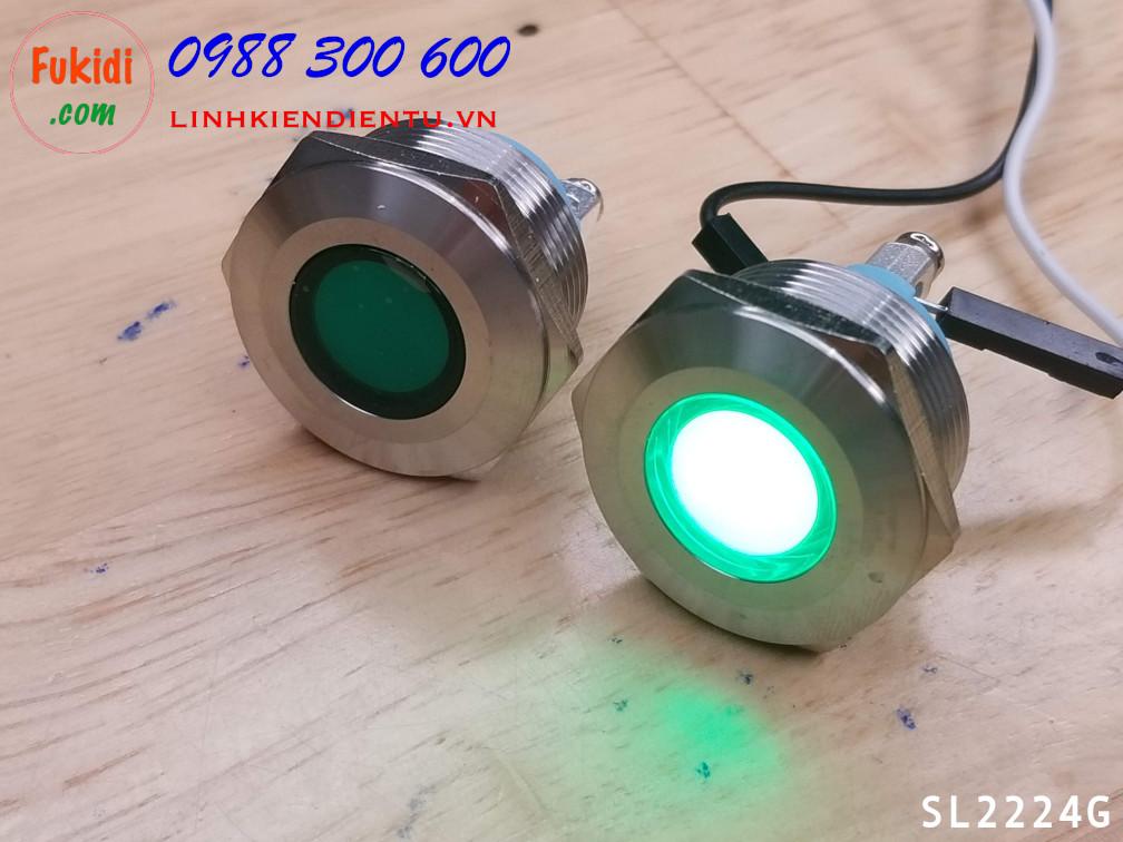 Đèn LED báo nguồn, báo tín hiệu vỏ kim loại, phi 22mm, 24V, màu xanh lá SL2224G