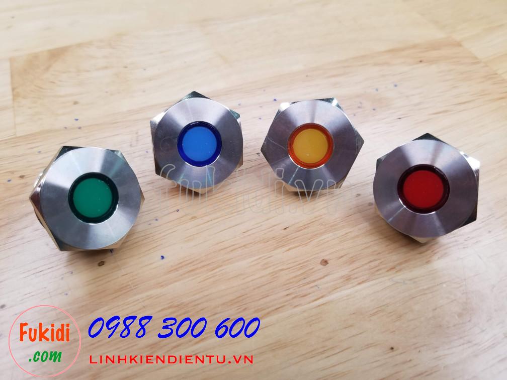 Đèn LED báo nguồn vỏ inox phi 25mm không thấm nước, điện áp 12V, màu xanh lá