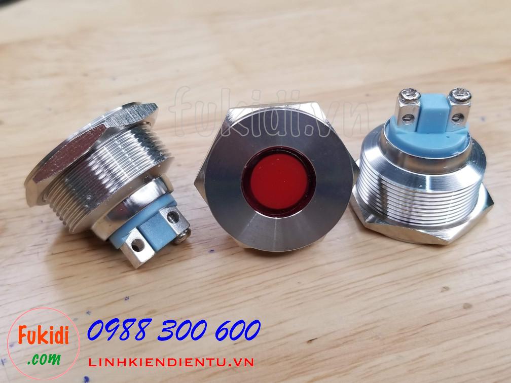 Đèn LED báo nguồn vỏ inox phi 25mm không thấm nước, điện áp 12V, màu đỏ