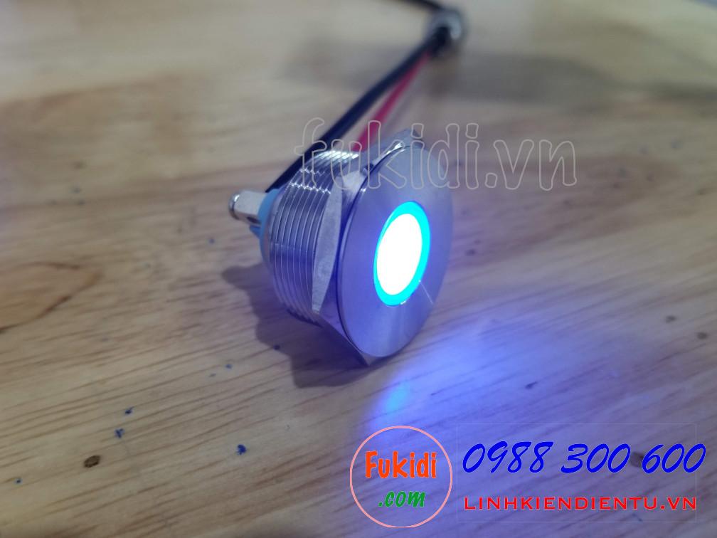 Đèn LED báo nguồn vỏ inox phi 25mm không thấm nước, điện áp 12V, màu xanh lục