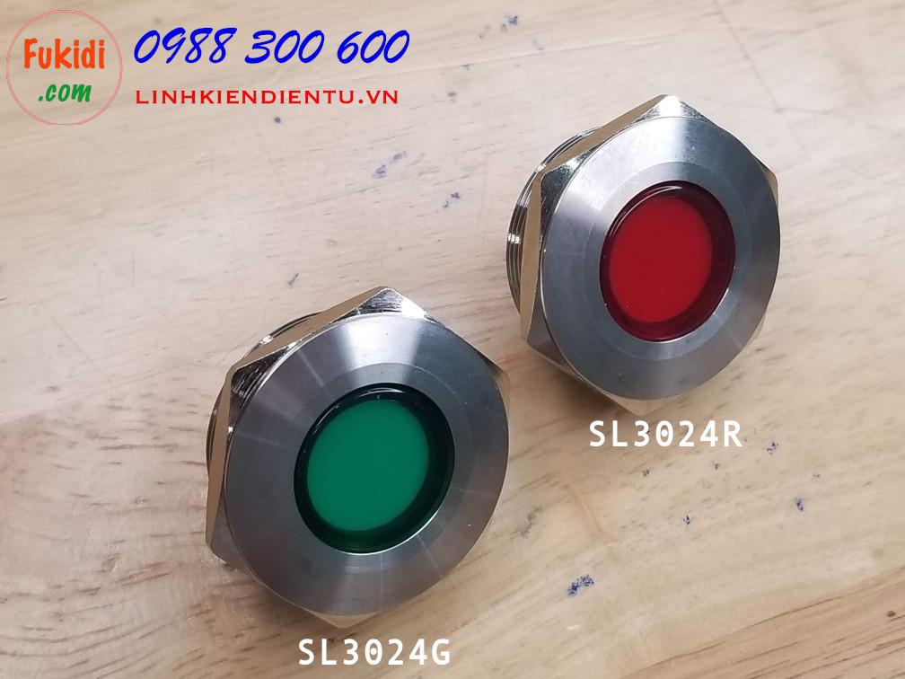 Đèn LED báo nguồn, báo tín hiệu vỏ kim loại, phi 30mm, 24V, màu đỏ SL3024R