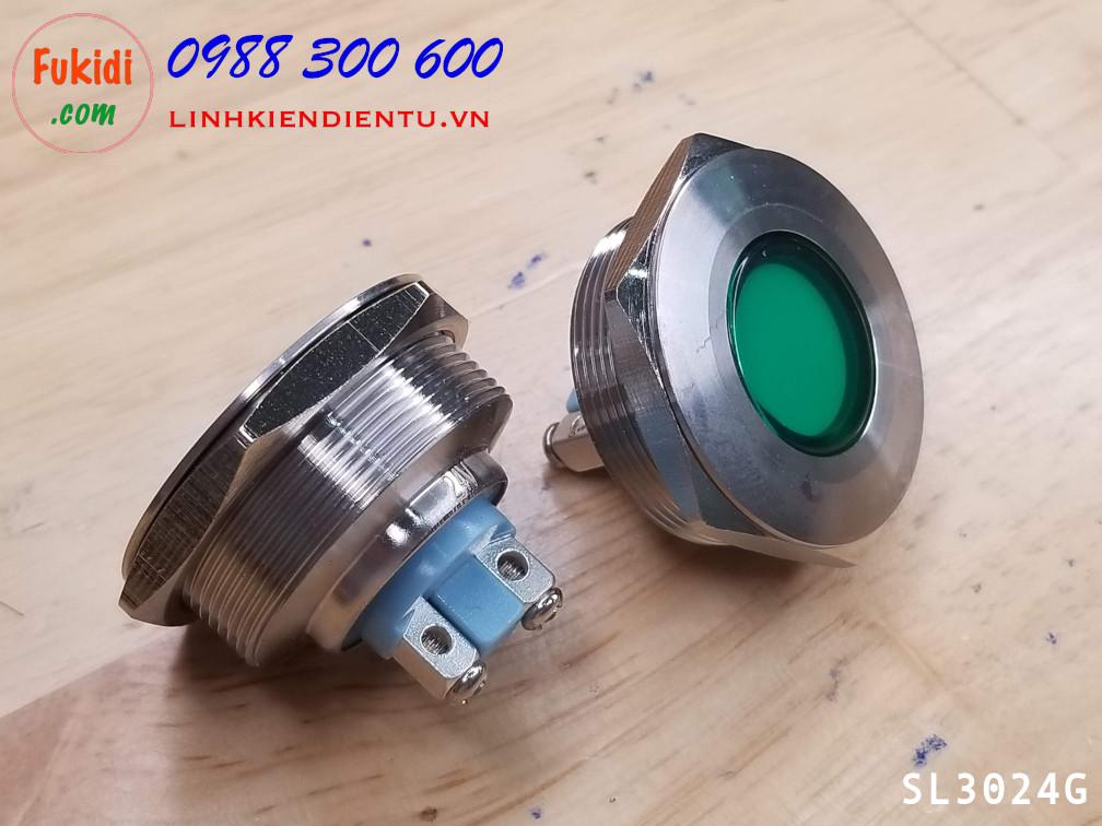 Đèn LED báo nguồn, báo tín hiệu vỏ kim loại, phi 30mm, 24V, màu xanh lá SL3024G