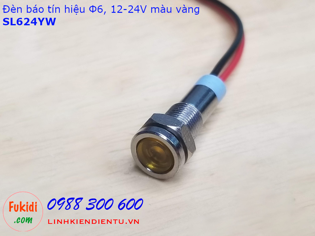 Đèn báo tín hiệu áp 12-24V, phi 6mm vỏ inox màu xanh vàng SL624Y
