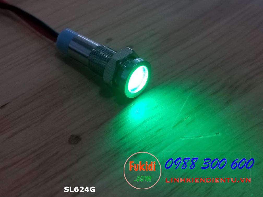 Đèn LED báo nguồn 24V, phi 6mm vỏ kim loại màu xanh lá SL624G
