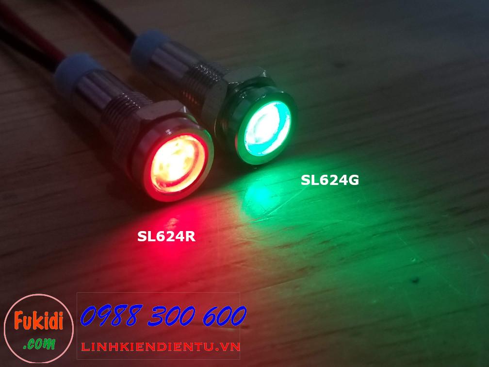 Đèn LED báo nguồn 24V, phi 6mm vỏ kim loại màu đỏ SL624R