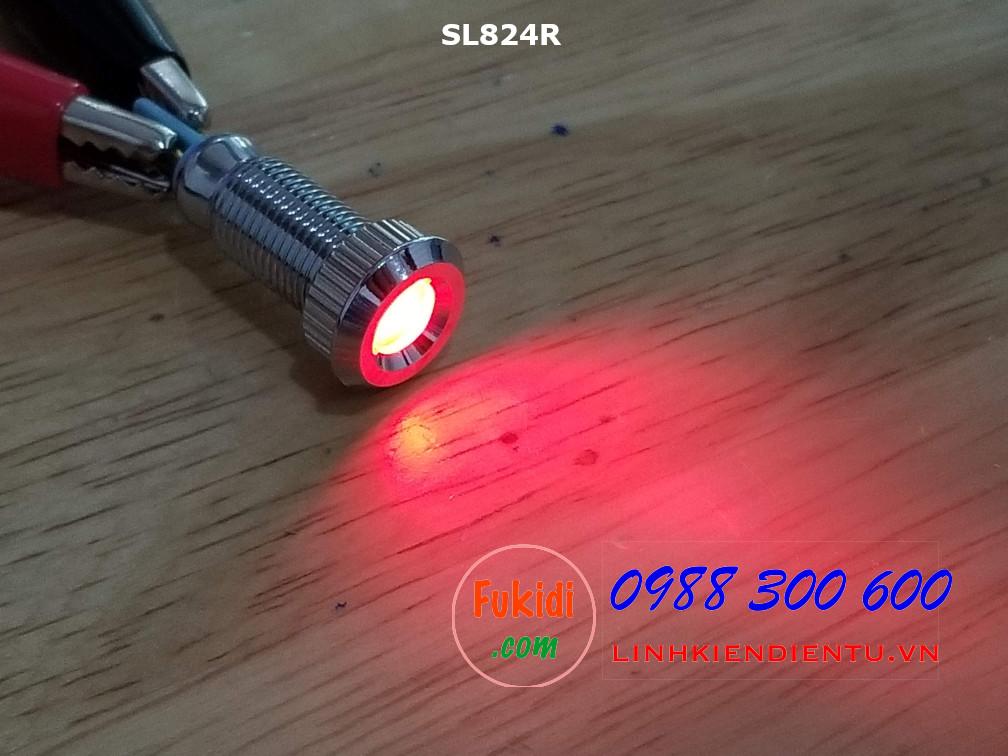 Đèn LED báo nguồn 24V, phi 8mm vỏ kim loại màu đỏ SL824R
