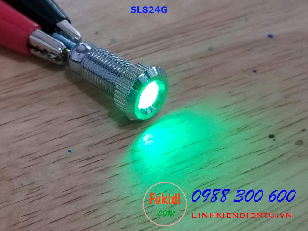 Đèn LED báo nguồn 24V, phi 8mm vỏ kim loại màu xanh lá SL824G