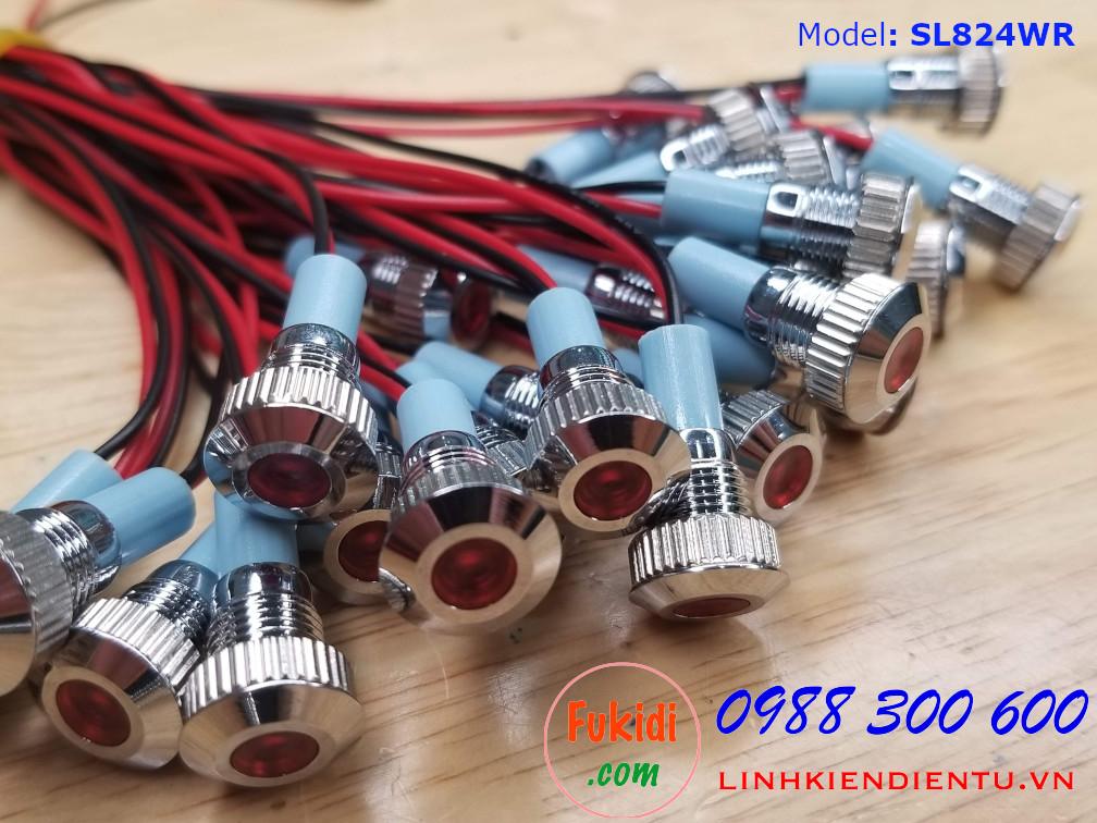 Đèn LED báo nguồn 8mm 24V màu đỏ, có dây dài 10cm SL824WR