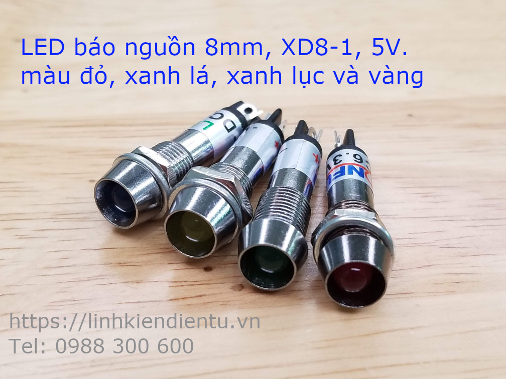 XD8-1 đèn LED báo nguồn 24V, 8mm màu xanh lục XD824B