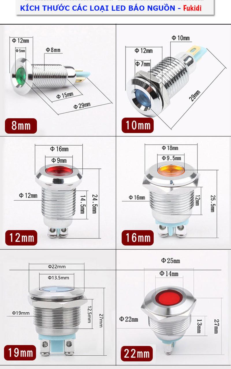 Đèn LED báo nguồn vỏ inox phi 19mm, điện áp 12-24V, màu vàng SL1924Y