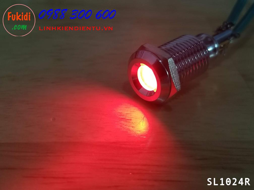 Đèn báo phi 10mm 220V vỏ kim loại sáng màu đỏ SL10220R