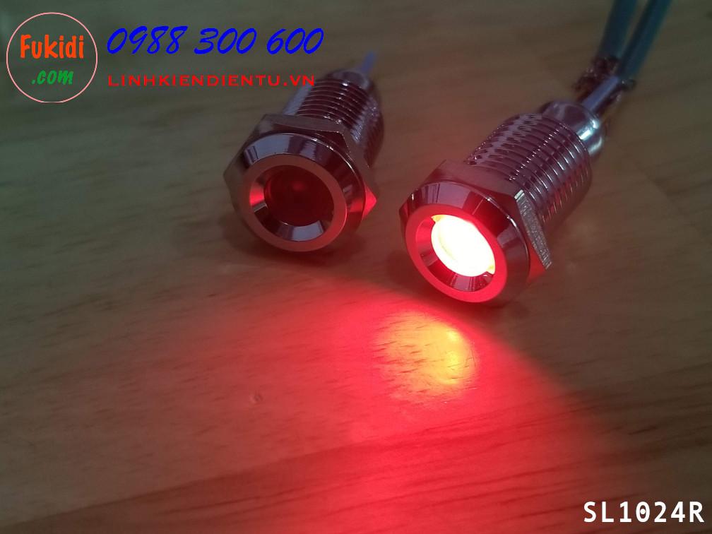 Đèn LED báo nguồn 24V, phi 10mm vỏ kim loại màu đỏ SL1024R