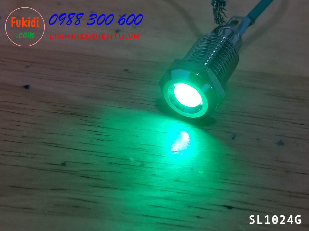 Đèn LED báo nguồn 24V, phi 10mm vỏ kim loại màu xanh lá SL1024G