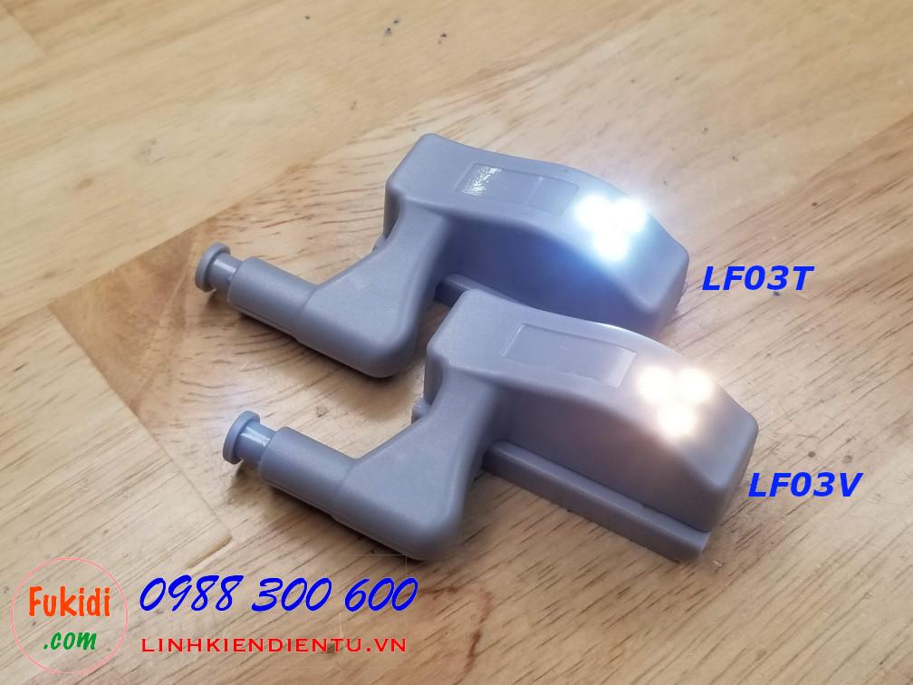 Đèn LED chiếu sáng cho tủ áo, gắn trên bản lề cửa tủ, đã bao gồm công tắc và pin 12V, model LF03