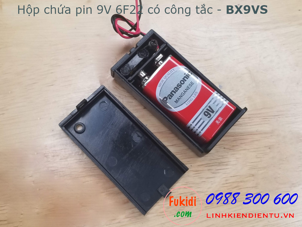 Hộp chứa pin 9V, loại 6F22, có công tắc
