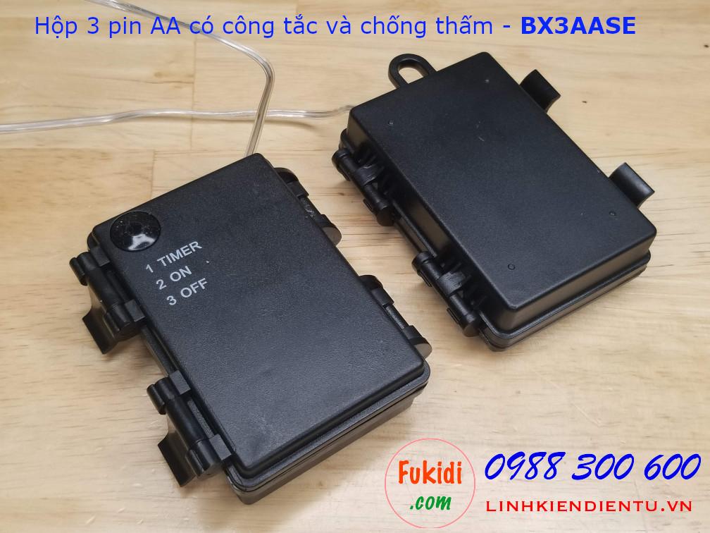 Hộp chứa 3 pin AA có công tắc và chống thấm nước - BX3AASE