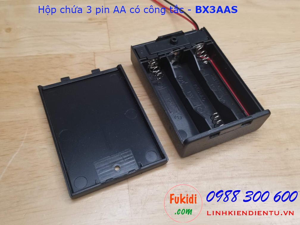 Hộp chứa 3 pin AA có công tắc, ngõ ra 4.5VDC - BX3AAS