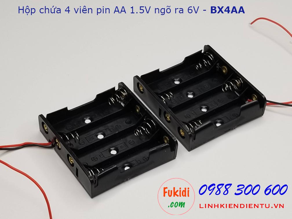 Hộp chứa 4 viên pin AA 1.5V cho ra điện áp 6VDC - BX4AA