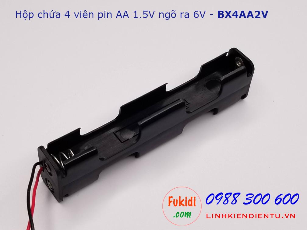 Hộp chứa 4 viên pin AA 1.5V ra điện áp 6V hai viên nối thẳng - BX4AA2V