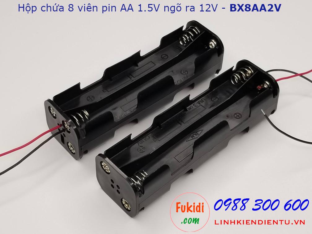 Hộp chứa 8 viên pin AA 1.5V ra điện áp 12VDC hai viên nối thẳng - BX8AA2V
