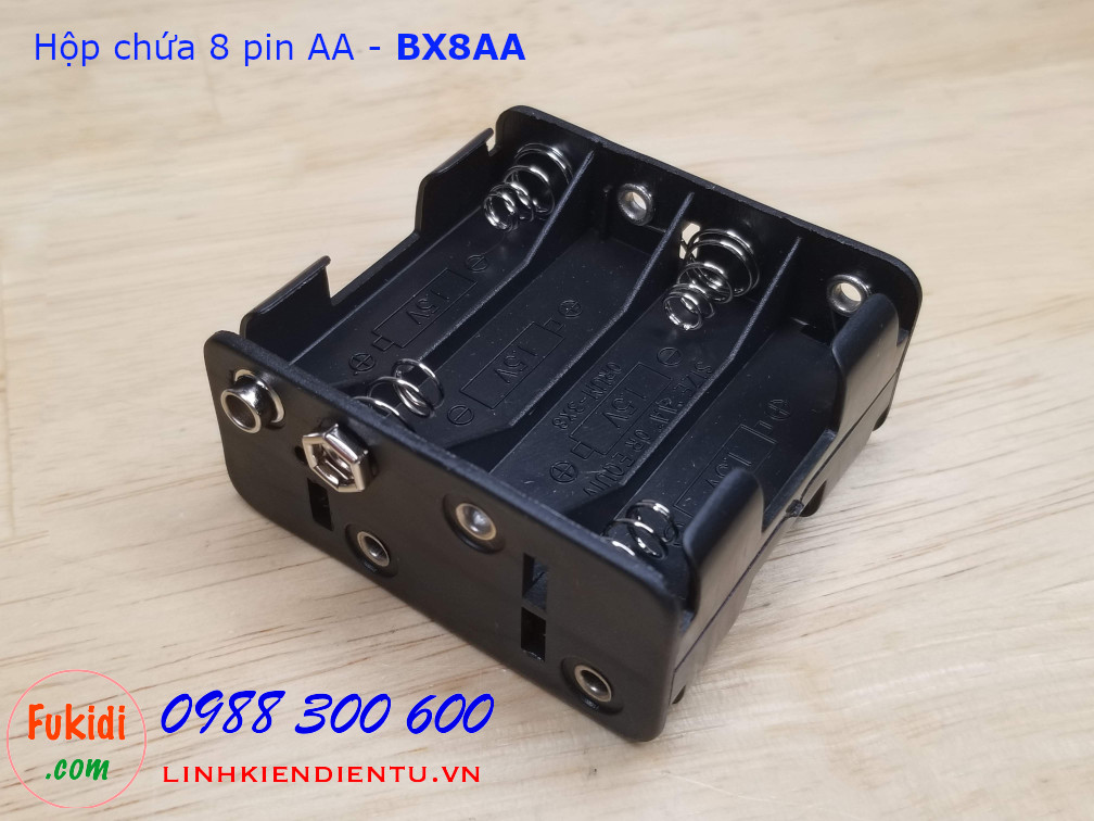 Hộp chứa 8 viên pin AA 1.5V cho  ra điện áp 12VDC - BX8AA