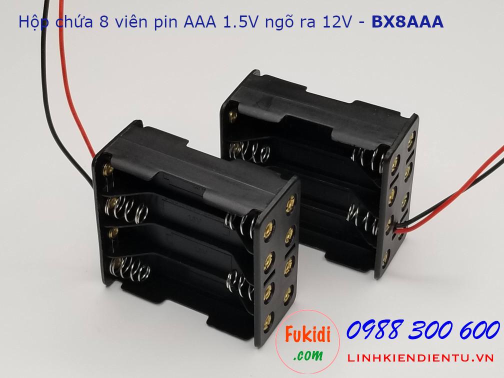 Hộp chứa 8 viên pin AAA 1.5V cho ra điện áp 12VDC - BX8AAA