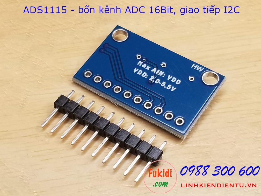 Module bốn kênh ADC 16Bit, giao tiếp I2C dùng chip TI ADS1115