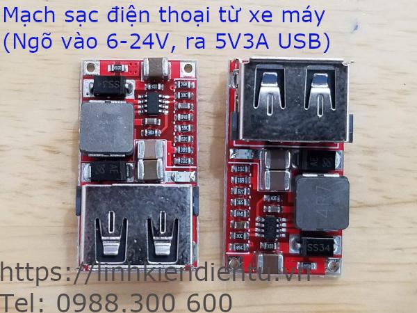 Mạch sạc điện thoại trên xe máy (chuyển điện áp 6-24V sang 5V/3A)