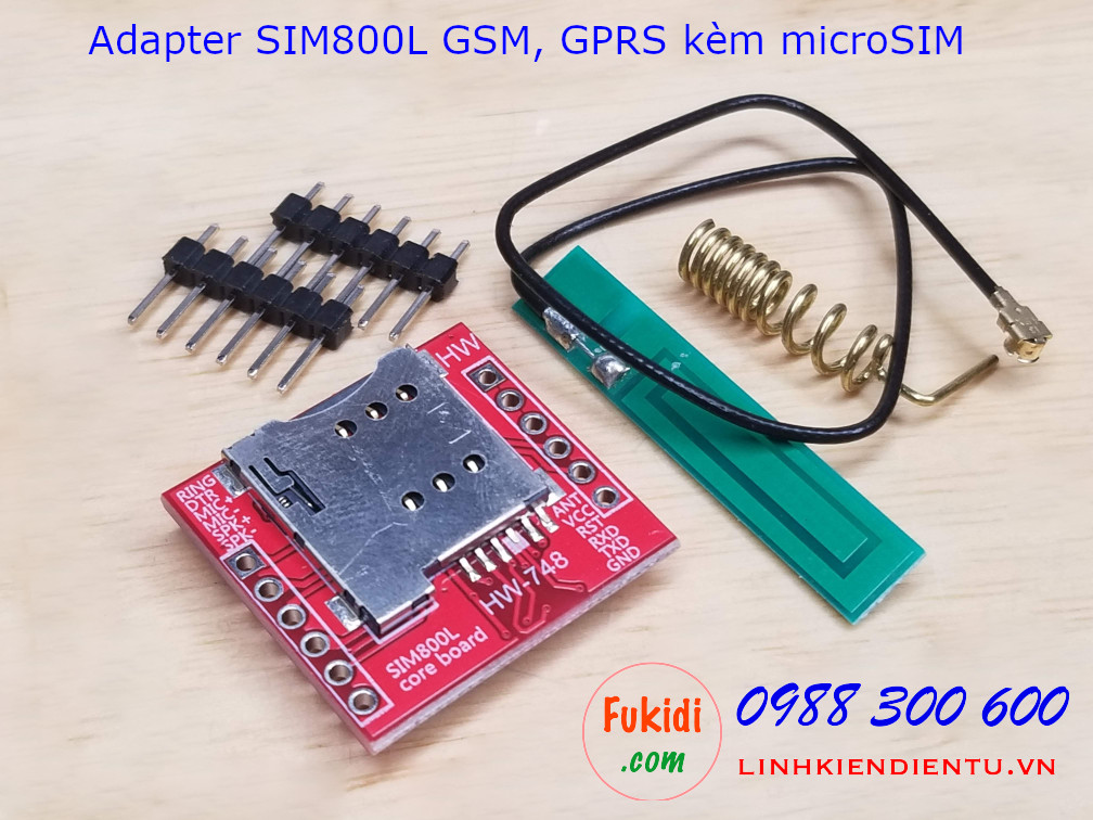 Board ra chân module SIM800L GSM GPRS kèm đế microSIM