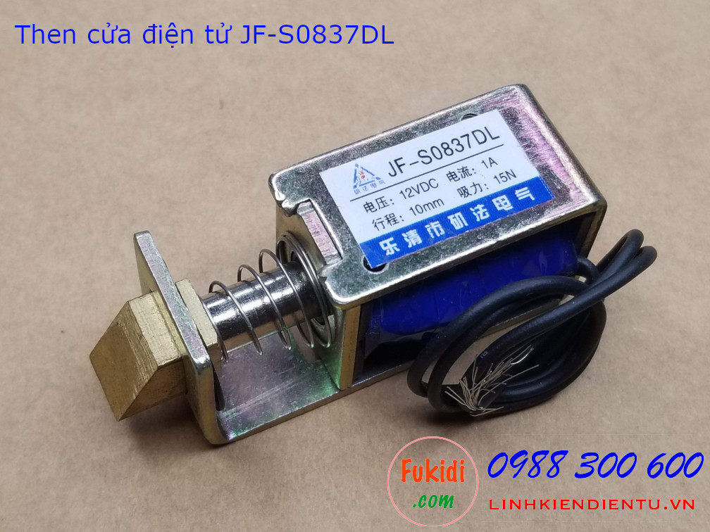 Then cửa điện tử JF-S0837DL 12V 1A, hành trình 10mm lực kéo 15N