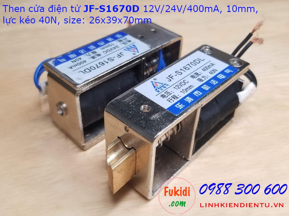 JF-S1670DL Then cửa, chốt cửa điện tử dùng để khóa-mở cửa bằng điện, dùng cho nhà thông minh