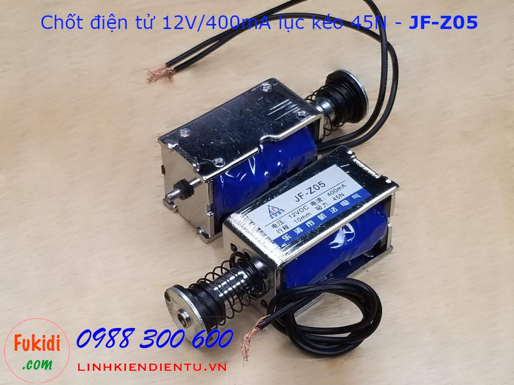 Chốt điện tử, chốt nam châm điện 12V 400mA lực kéo 45N - JF-Z05