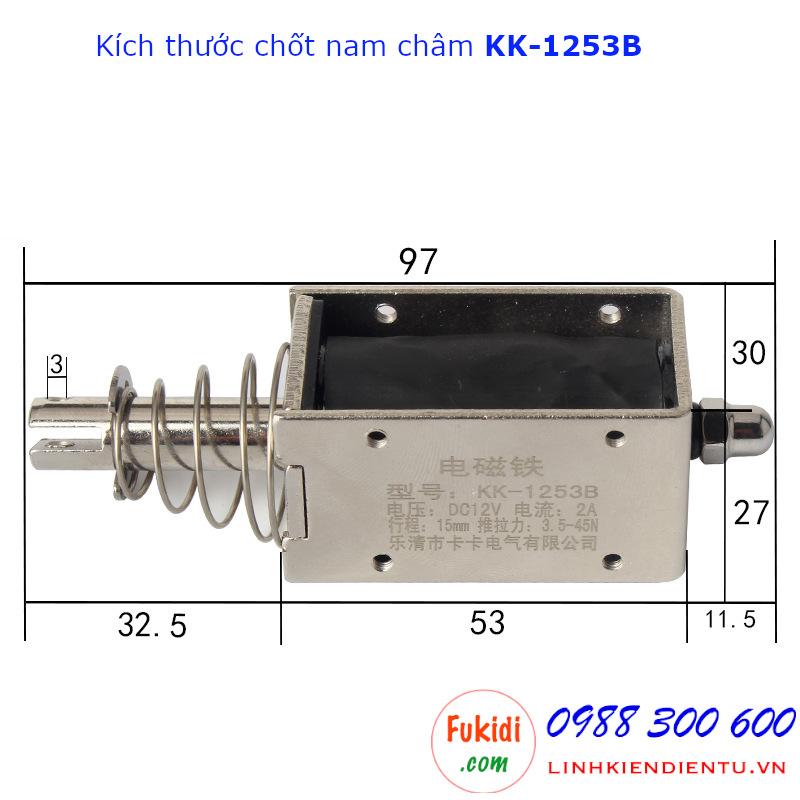 Chốt nam châm điện kéo đẩy 2A/12V lực kéo 45N hành trình 15mm KK-1253B