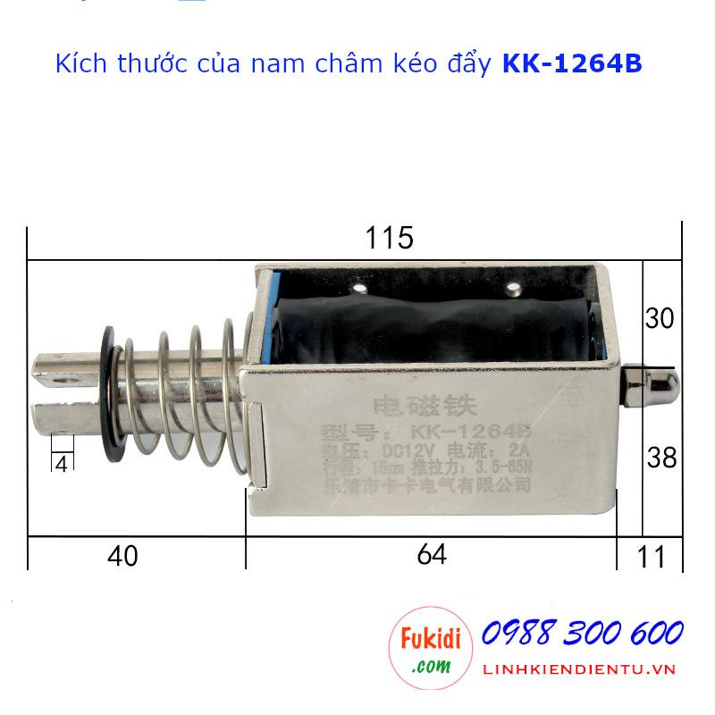 Chi tiết kích thước của chốt nam châm điện kéo-đẩy KK-1264B