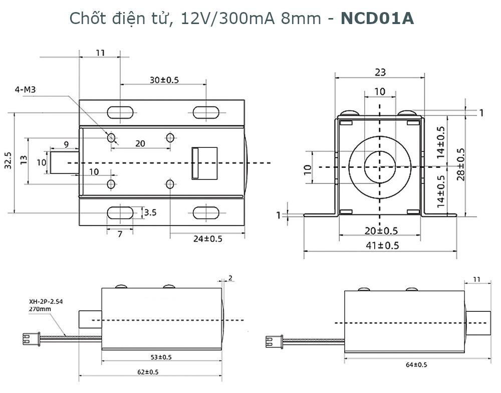 Chốt điện tử, chốt nam châm điện 12V 300mA lực kéo 0.5N - NCD01A