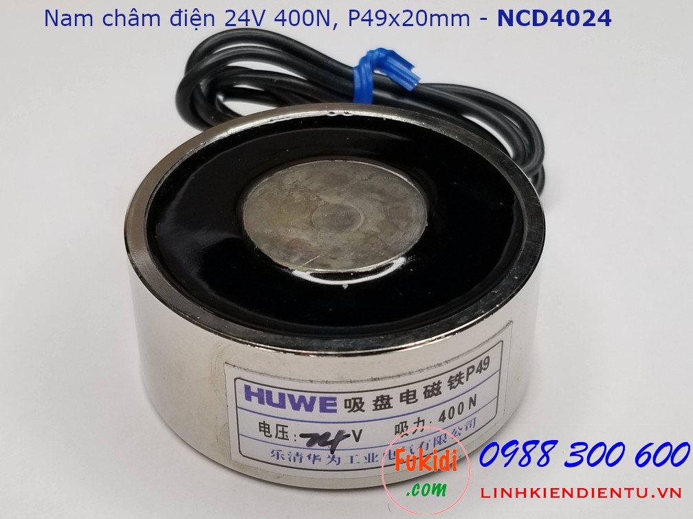 Nam châm điện HUWE điện áp 24V, lực hút 400N phi 49mm dài 20mm - NCD4024