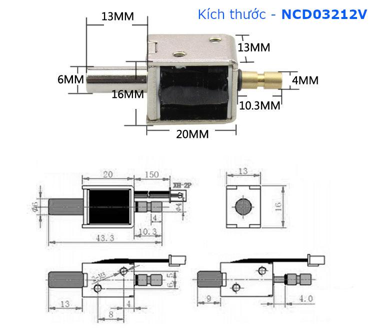 Chốt nam châm điện đẩy-kéo 0.5N 12V - NCD03212V