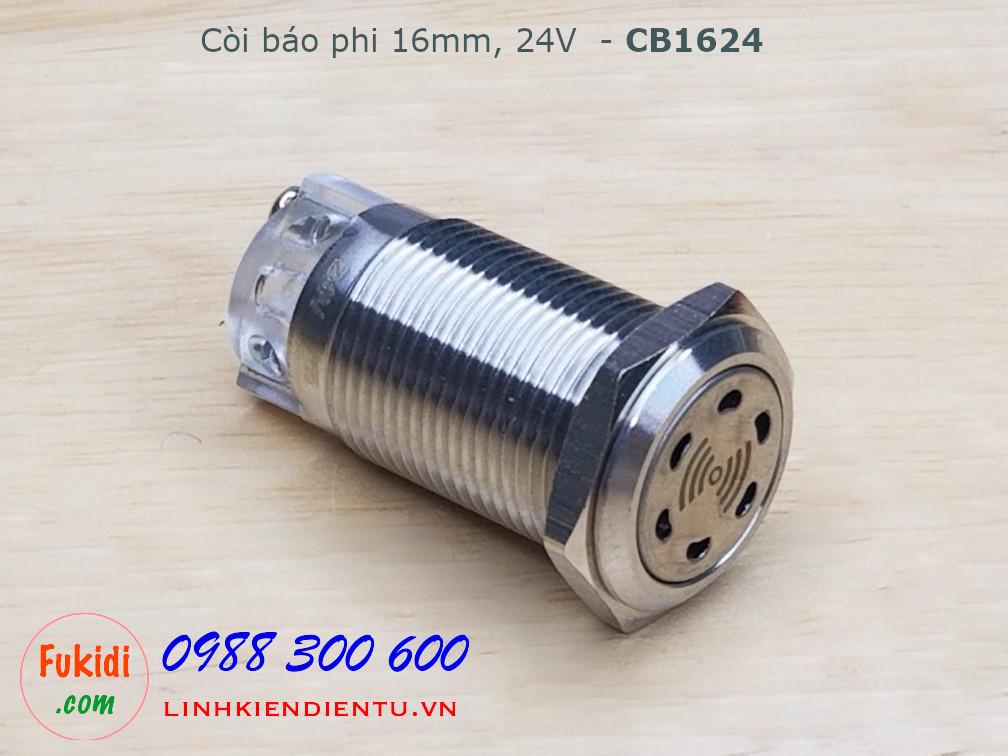 Còi báo tủ điện phi 16mm, 24V vỏ kim loại - CB1624