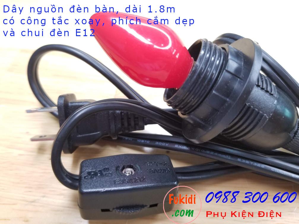 Dây điện cắm nguồn đèn dài 1.8m, kèm công tắc xoay, phích cắm dẹp và chui đèn E12 màu đen