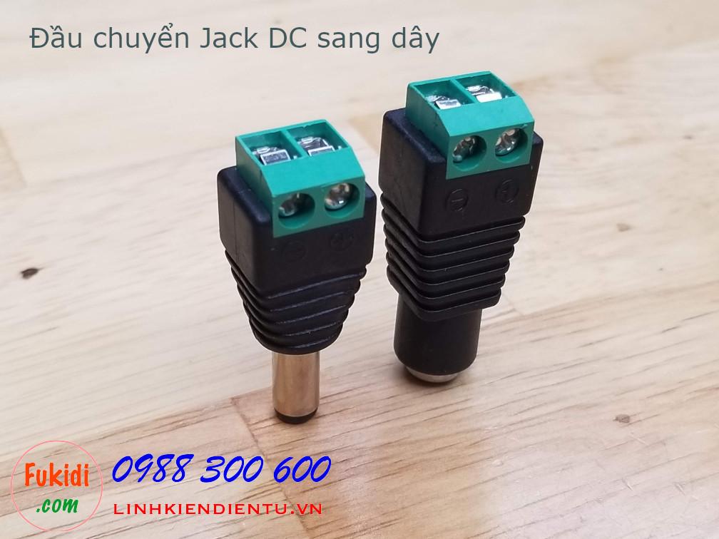 Đầu nối dây chuyển đổi từ Jack DC sang domino hai chân và ngược lại