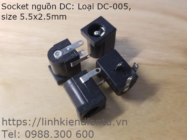 Socket gắn nguồn DC: DC-005, kích thước chân 2.5mm