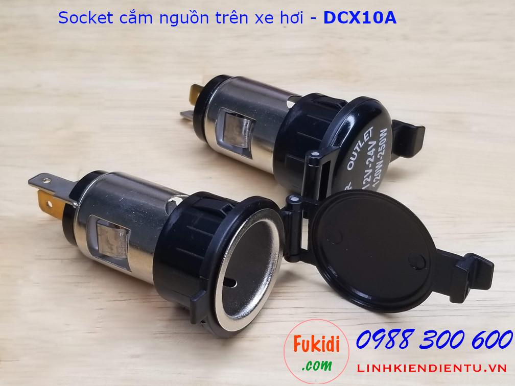 Socket cắm nguồn DC cho xe hơi điện áp 12-24V 10A - DCX10A