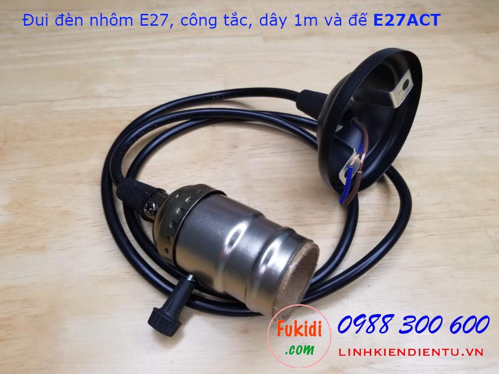 Bộ đui đèn nhôm E27 kèm công tắc vặn, dây 1m và đế gắn tường - E27SET
