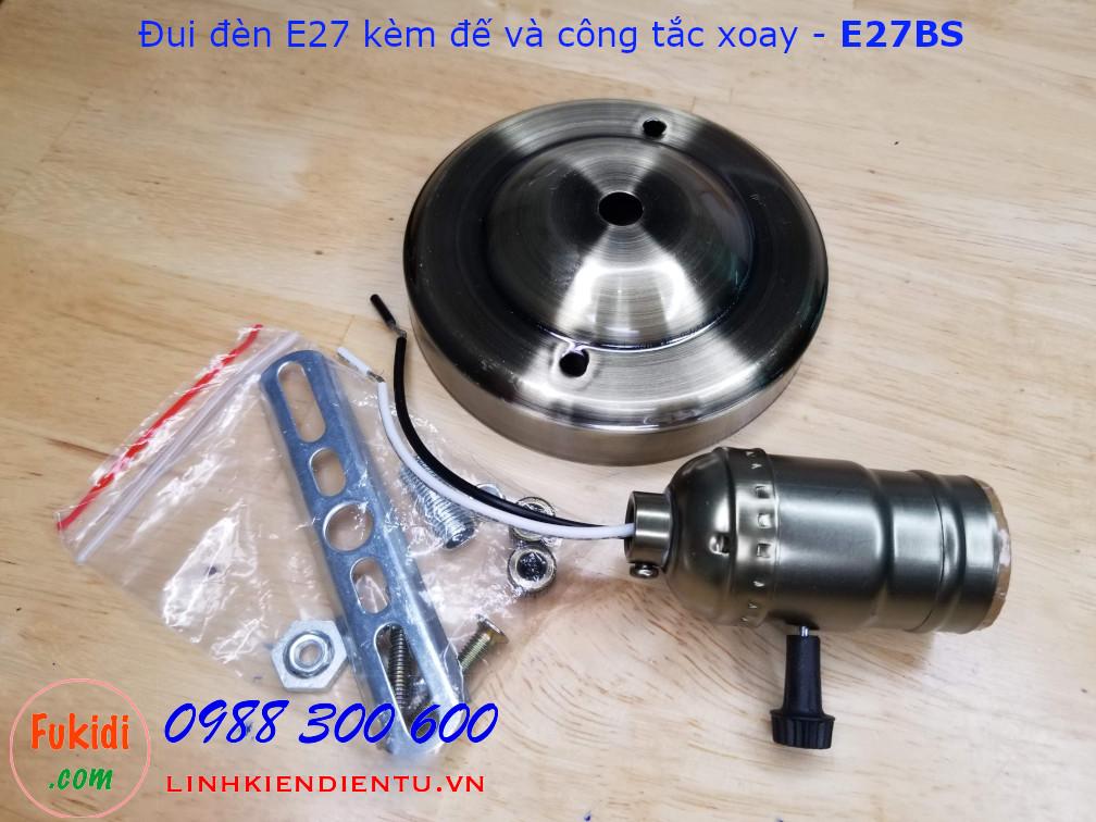 Đui đèn E27 vỏ nhôm kèm đế gắn tường và công tắc xoay - E27BS