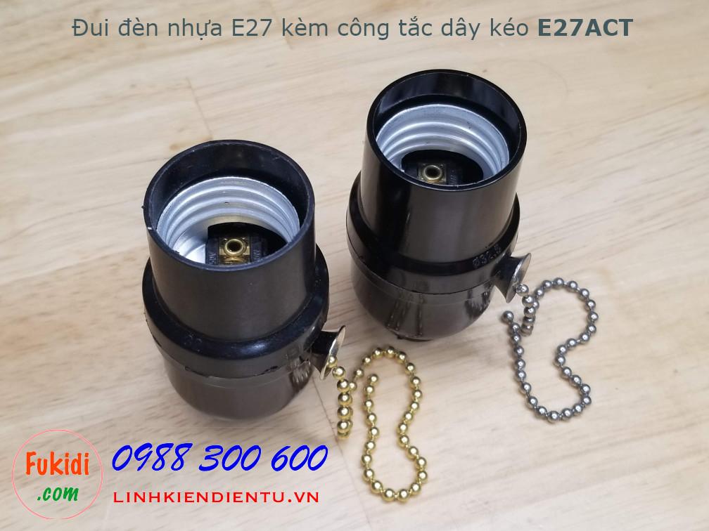 Đui đèn nhựa E26 E27 công suất 250W kèm theo công tắc dây kéo - E27ACT