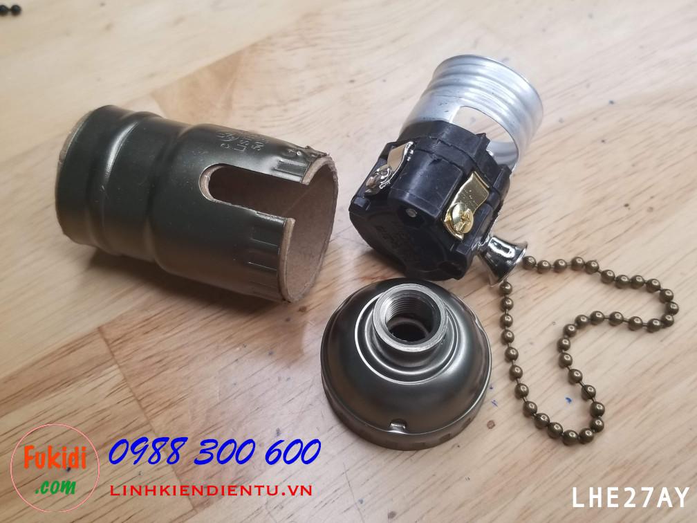 Đui đèn nhôm cao cấp, kèm công tắc dây kéo, loại đui E26, E27 kiểu vặn màu đen nâu LHE27AG