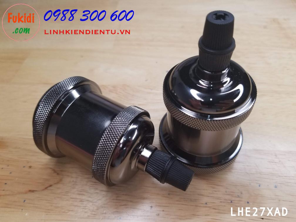 LHE27XAD Đui đèn nhôm nguyên khối cao cấp, loại E26, E27 kiểu vặn màu đen nâu bóng